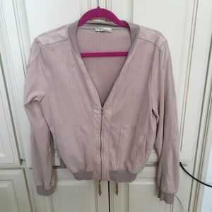 Alythea Faux Suede Blush Bomber Jacket